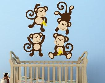 Monkey Decals Monkey Decal Swinging Monkey Decal Nursery Decor - Three Little Monkeys Jungle Theme Nursery Decor Vinyl Wall Decal