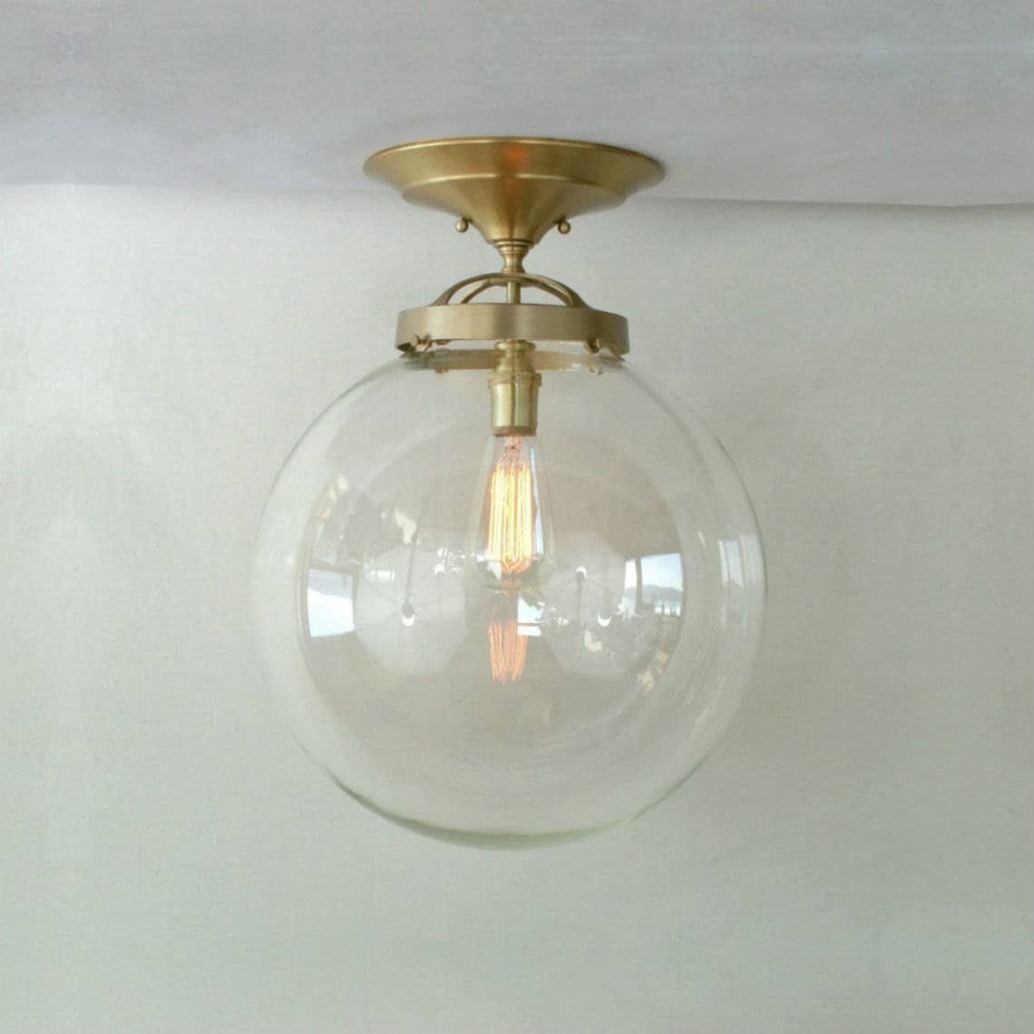 Semi Flush 14 Clear Globe Pendant Light Huge Glass