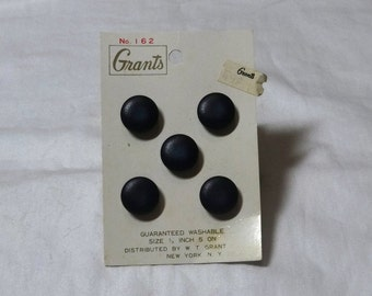5 Vintage, Navy Shank Buttons on Original Card, by Grants, 5/8 Inch, Circa 1970s, No. 162, Classic Vintage Buttons, Vintage Sewing Notions