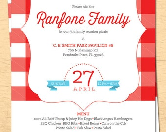 Family Reunion Picnic Invitation - BBQ Invitation - 4th of July Invite - Email Template