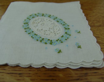 Embroidered vintage hanky Mother Day gift