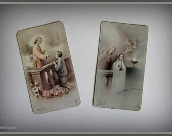 Set of 2 vintage 40/50's holy communion cards.
