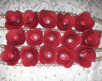 100 RED PAPER FLOWERS With Pearl Centre