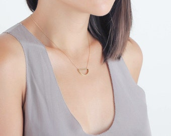 Open brass semi circle charm - 14k gold filled necklace - simple everyday jewelry