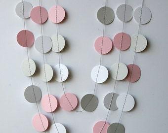 Pink, gray & white paper garland - Pink gray white nursery decor - Girl baby shower, Girl birthday banner, Wedding shower, KC-1034