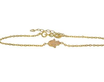 Cubic Zirconia Encrusted Hamsa Hand Charm Bracelet