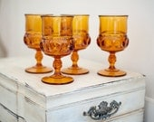 Vintage Amber Glass Wine Goblets