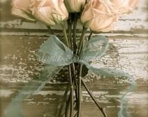 "Rose Print, Shabby Cottage Chic Art, French Country Flower Photograph, Garden Photo, Romantic Peach Rose Art, Farmhouse- ""Rustic Romance"""