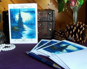 Blue Cabin Art  Blank note cards 4 cards to a pack