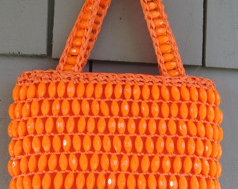 Vintage Orange Oval Prism Shaped Beaded Raffia Woven Hand Bag made in Italy