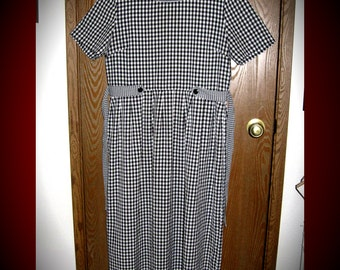Kathie Lee Size 12 Black + White Checkered/Gingham Long Maxi Dress