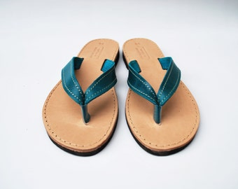 Leather Flip Flops in Blue