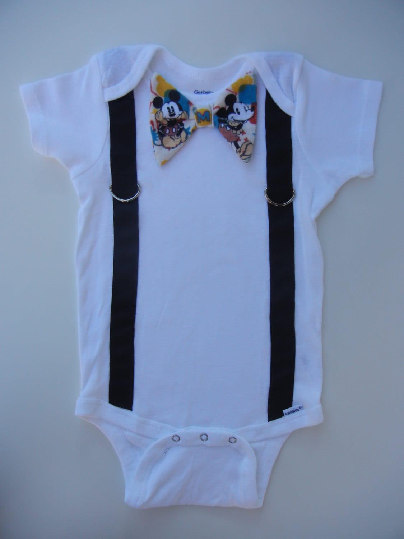 mickey mouse baby onesie necktie bow tie by fieldofthread