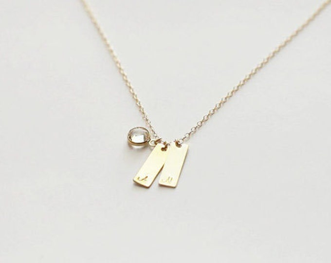 Two Customized initial bar - Personalized bar necklace - Mother's day Gift for her  EP027
