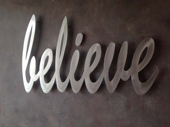 Wall Art Metal Sayings : Believe metal wall art quotes by inspiremetals