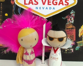 Las Vegas Showgirl and Elvis Cake Topper with Las Vegas Heart Sign and Stand - hand painted wooden doll