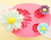 23mm Daisy Flowers Set Flexible Silicone Mold - Decoden Kawaii Sweets Resin Fimo Polymer Clay Sculpey Wax Soap Fondant Cabochon