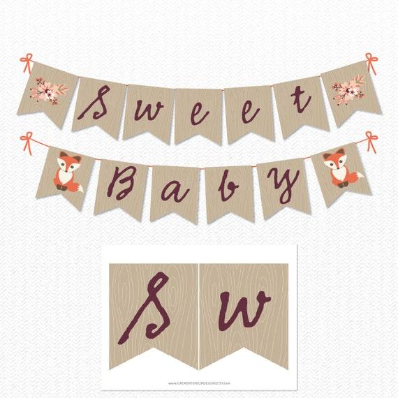 Instant Download Baby Fox Theme Baby Shower Banner DIY