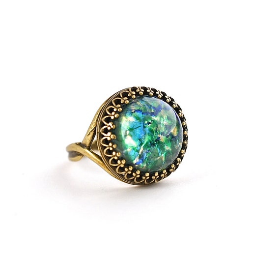 items similar to emerald opal ring crown