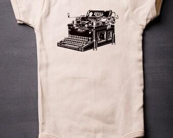 Baby Bodysuit - Typewriter - Baby Shower Gifts - Organic Cotton - Royal Typewriter - Screen Printed - MicroThreads Apparel