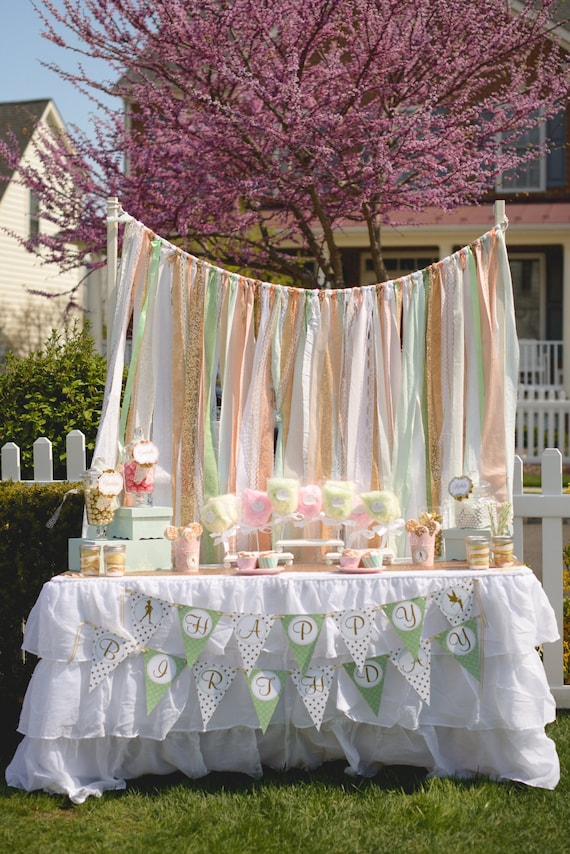 alice in wonderland photo booth ideas - Gold Sparkle Sequin with Peach Mint Fabric Backdrop Lace