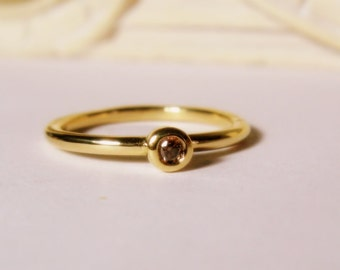 25% OFF Cognac Diamond, 14K Gold Engagement, Stackable, minimalist, Made to Order, yellow, rose, or white gold