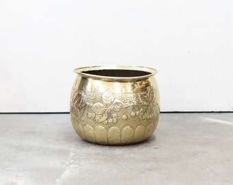 English Brass Bucket with Grapevine Motif