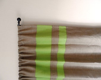 """Striped Burlap Curtain 52"""" x 96"""" with two lime burlap wide stripes at the top"""
