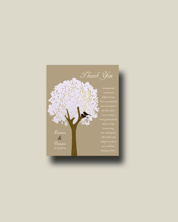 Wedding gift for Grandparents from Bride & Groom, Tree Gift, Thank you ...
