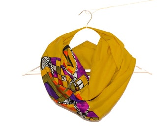 Mustard Yellow Infinity Scarf, Yellow Infinity Scarf, CottonYellow Scarf, Yellow Circle Scarf, Mustard Cotton Scarf, Multicolored Scarf