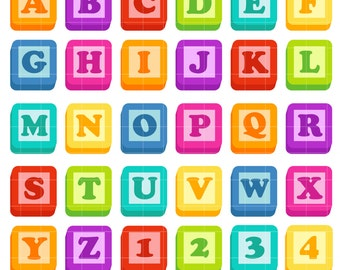 Toy Blocks Alphabet Digital Clip Art for Scrapbooking Card Making Cupcake Toppers Paper Crafts