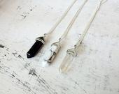 Necklace pendant natural gemstone black onyx, turquoise white, crystal rock boho