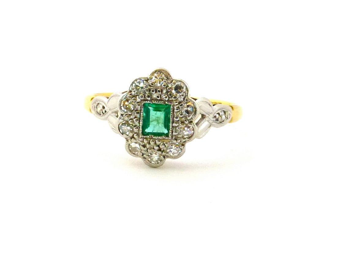 antique engagement ring emerald 18ct platinum