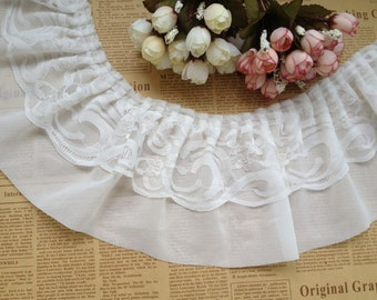 1 Yard Chiffon Ruffled Lace Trim in White/Black for Baby Dress, Chiffon Skirt, Embellishment -13cm width
