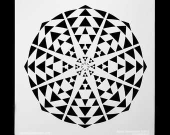Sacred Geometry Kaleidoscope.  Wall / Art / Craft / Painting / Makeup / Furniture / Tattoo / Overlay Airbrush Stencil.