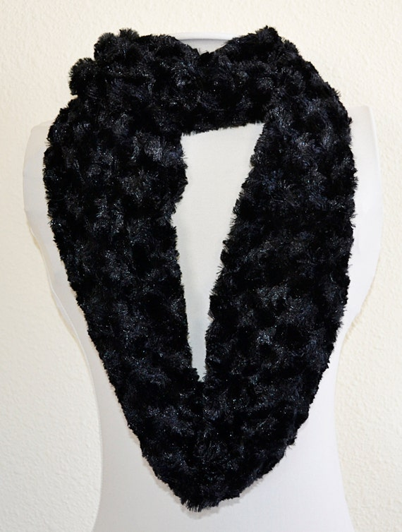 black minky faux fur infinity scarf ready by