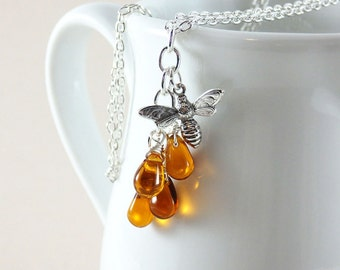 Honey Bee Necklace, Honey Drop Necklace, Bee Necklace, Bee Jewelry, Topaz Honey Drops, Bumble Bee Necklace, Silver Honey Bee, Apiculture