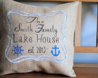 An inviting country cottage pillow cover personalized for your family! Country decor, Cottage chic decor, Country pilow, Personalized pillow