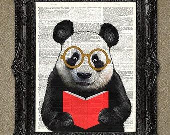 Dictionary Art Print Nerdy but Cute Panda-Plus any Book Title of your choice can be added. Panda Bear Art, Panda Wall Art!