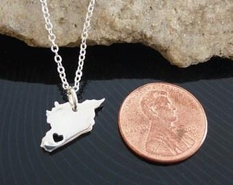 Tiny Sterling Silver Syria Necklace / Custom Heart / Small Syria Necklace / Love Syria  / Country Necklace / Syria Wedding