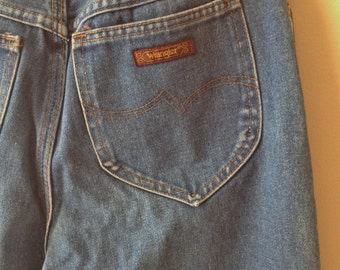 Vintage 1970's / 1980's Wrangler High Waisted Straight Leg Jeans / Mom Jeans / Distressed Denim / Size 10