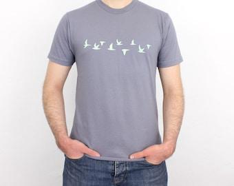 Flying Birds hand printed T-Shirt slate / mint - Men