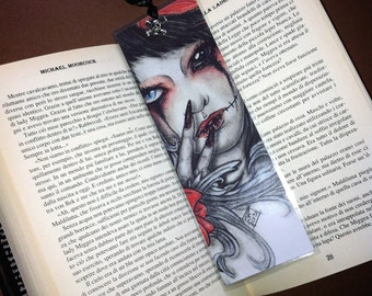 Bloody Tears - Handmade Laminated Bookmark Print with Silver Charm - Gothic Horror Tattoo