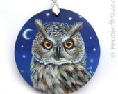 Hand Painted Art Necklace with a Wonderful Long-Eared Owl! Original Fine Detailed Jewelry 100% Handpainted by the Artist Roberto Rizzo