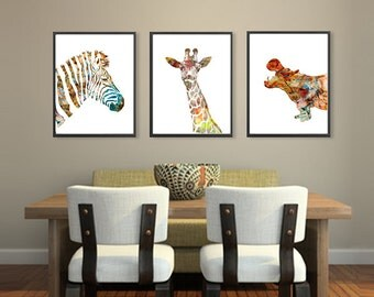 African Animal Art Watercolor Print, Giraffe Print Zebra Print Hippo Print, Kids Room Decor, Nursery animal wall decor  - 272/125/178