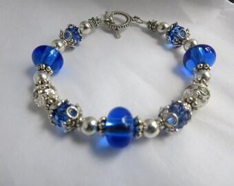 Saphire Blue Bracelet, Blue Lampwork Bracelet, Crystal And Silver Bracelet  Mom Gift