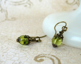 Small Lime Green Beaded Earrings Tiny Olive Glass Bead Dangles Vintage Style Romantic Bridesmaid Jewelry Rustic Wedding Party Jewelry