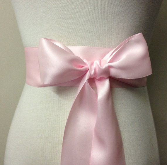 2 Inch Sash-Powder Pink Sash-Blush Pink-5cm Ribbon Belt-Flower Girl Sash-Bridal Sash-Bridesmaid Sash-Pink Sash-Double Sided Satin Sash