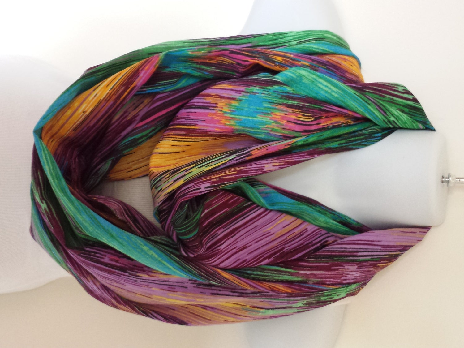 spectrum lines infinity scarf india silk scarf by trendystop