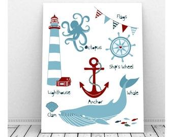 Nautical Nursery Art,  Instant Digital Download, Nautical Nursery Decor, Sailing Art, Nautical Nursery Baby Boy, Lighthouse Art, Anchor Art